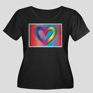 Rainbow 3D Heart Women's Plus Size Scoop Neck Dark