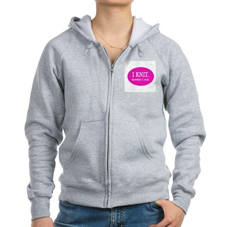 I Knit Therefore I Rock Women's Zip Hoodie