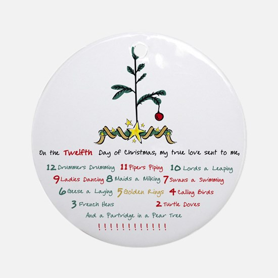 12 Days of Christmas Ornament (Round)