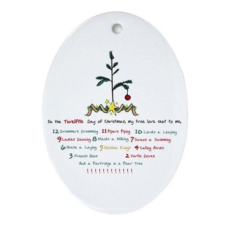 12 Days of Christmas Ornament (Oval)