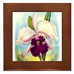 Gorgeous Orchid Vintage Painting Print Framed Tile
