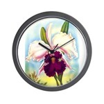 Gorgeous Orchid Vintage Painting Print Wall Clock