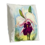 Gorgeous Orchid Vintage Painting Print Burlap Thro