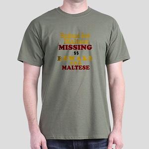 Husband & Maltese Missing Dark T-Shirt