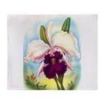 Gorgeous Orchid Vintage Painting Print Throw Blank