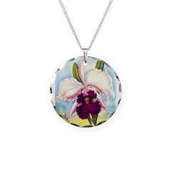 Gorgeous Orchid Vintage Painting Print Necklace Ci
