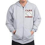 Cane Corso Logo Red Zip Hoodie