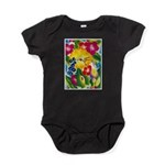 Hummingbird in Tropical Flower Garden Print Body S