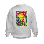 Hummingbird in Tropical Flower Garden Print Sweats