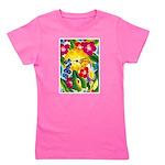 Hummingbird in Tropical Flower Garden Print T-Shir