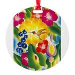 Hummingbird in Tropical Flower Garden Print Round