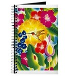 Hummingbird in Tropical Flower Garden Print Journa