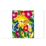 Hummingbird in Tropical Flower Garden Print Postca