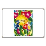 Hummingbird in Tropical Flower Garden Print Banner