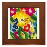 Hummingbird in Tropical Flower Garden Print Framed