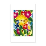 Hummingbird in Tropical Flower Garden Print Poster