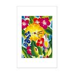 Hummingbird in Tropical Flower Garden Print Poster