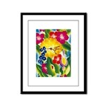 Hummingbird in Tropical Flower Garden Print Framed