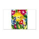 Hummingbird in Tropical Flower Garden Print Decal