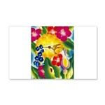 Hummingbird in Tropical Flower Garden Print Decal
