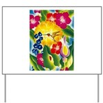Hummingbird in Tropical Flower Garden Print Yard S