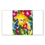 Hummingbird in Tropical Flower Garden Print Sticke