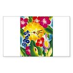 Hummingbird in Tropical Flower Garden Print Sticke