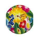 Hummingbird in Tropical Flower Garden Print Button