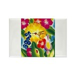 Hummingbird in Tropical Flower Garden Print Magnet