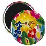 Hummingbird in Tropical Flower Garden Print Magnet
