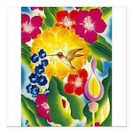 Hummingbird in Tropical Flower Garden Print Square