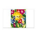 Hummingbird in Tropical Flower Garden Print Rectan