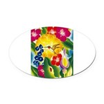 Hummingbird in Tropical Flower Garden Print Oval C
