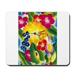Hummingbird in Tropical Flower Garden Print Mousep