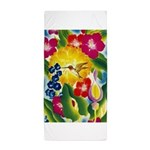 Hummingbird in Tropical Flower Garden Print Beach
