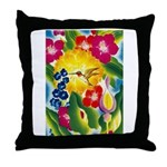 Hummingbird in Tropical Flower Garden Print Throw