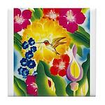 Hummingbird in Tropical Flower Garden Print Tile C