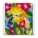 Hummingbird in Tropical Flower Garden Print Tile C