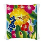 Hummingbird in Tropical Flower Garden Print Woven