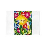 Hummingbird in Tropical Flower Garden Print 5'x7'A