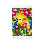 Hummingbird in Tropical Flower Garden Print Area R