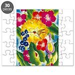 Hummingbird in Tropical Flower Garden Print Puzzle