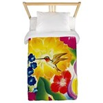 Hummingbird in Tropical Flower Garden Print Twin D