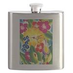 Hummingbird in Tropical Flower Garden Print Flask