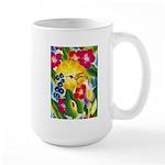 Hummingbird in Tropical Flower Garden Print Mugs