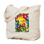 Hummingbird in Tropical Flower Garden Print Tote B