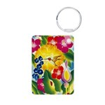 Hummingbird in Tropical Flower Garden Print Keycha
