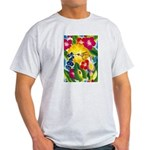 Hummingbird in Tropical Flower Garden Print T-Shir