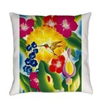 Hummingbird in Tropical Flower Garden Print Everyd