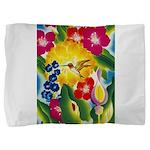 Hummingbird in Tropical Flower Garden Print Pillow